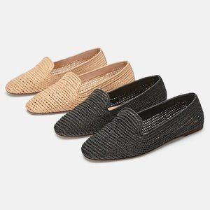 Zara Basic Collection Raffia Woven Moccasin Loafer